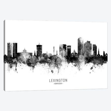 Lexington Kentucky Skyline Name Black And White Canvas Print #MTO2796} by Michael Tompsett Art Print