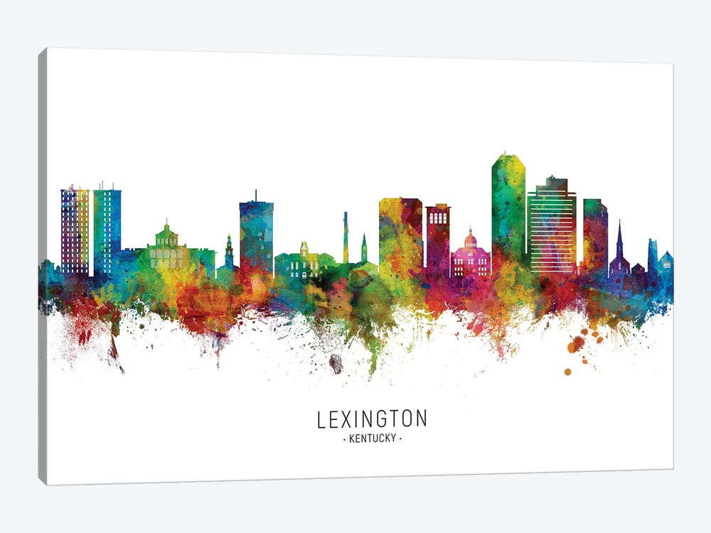 Lexington Kentucky Skyline City Name by Michael Tompsett 1-piece Canvas Art