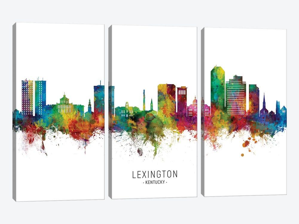 Lexington Kentucky Skyline City Name by Michael Tompsett 3-piece Canvas Artwork