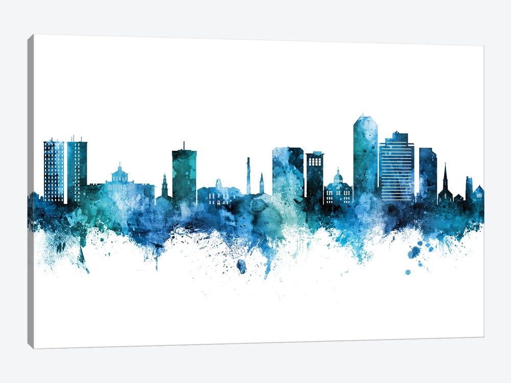 Lexington Kentucky Skyline Blue Teal by Michael Tompsett 1-piece Canvas Print