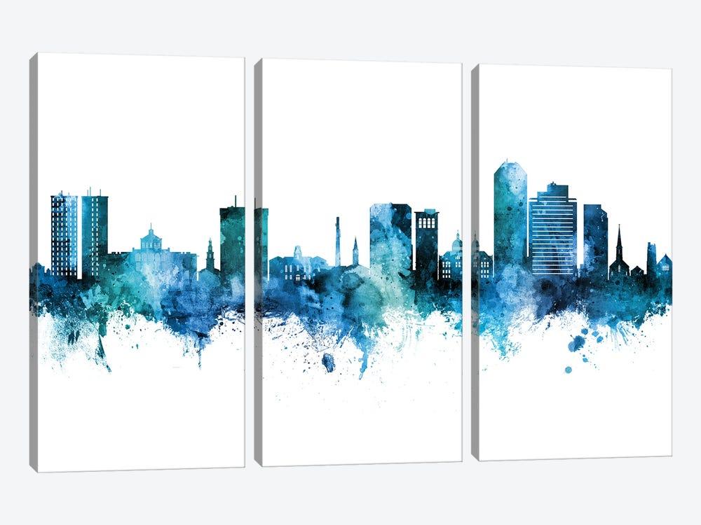 Lexington Kentucky Skyline Blue Teal by Michael Tompsett 3-piece Canvas Art Print