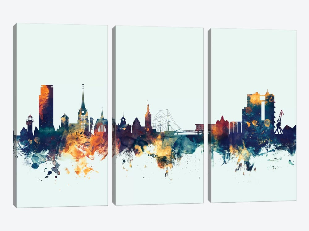 Skyline Series: Halmstad, Sweden On Blue by Michael Tompsett 3-piece Canvas Art