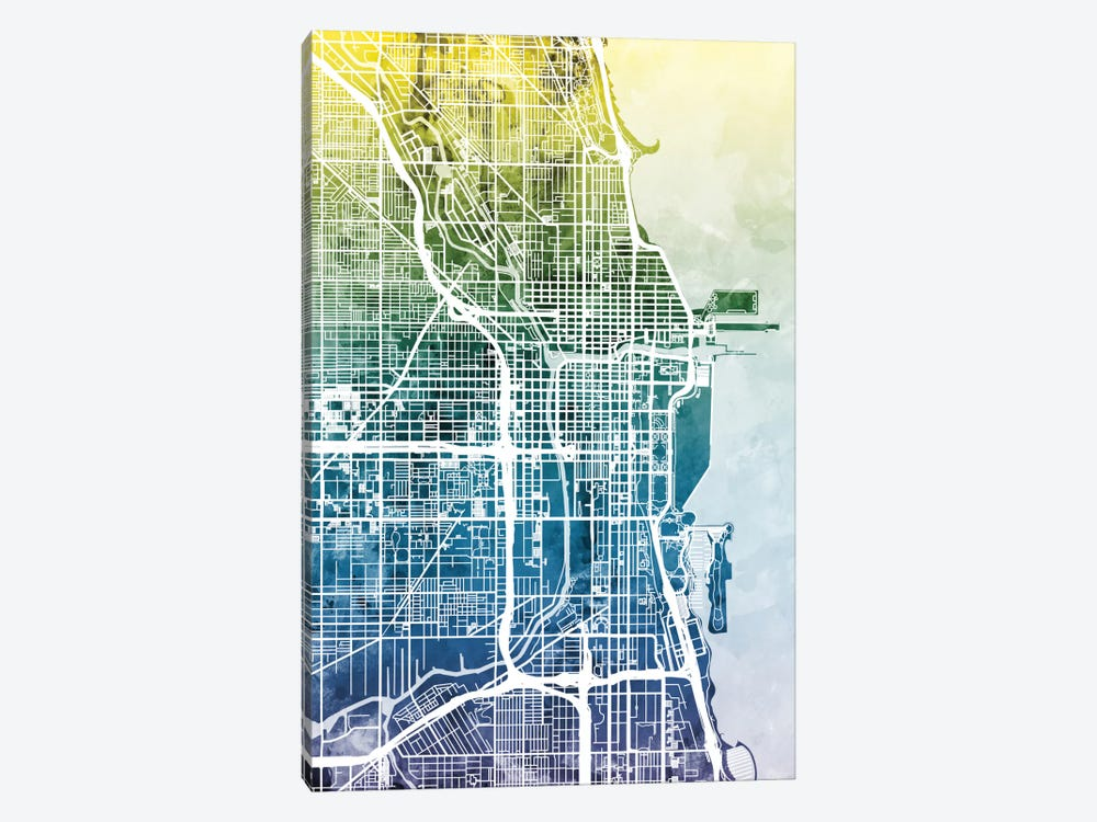 Chicago, Illinois, USA by Michael Tompsett 1-piece Canvas Wall Art