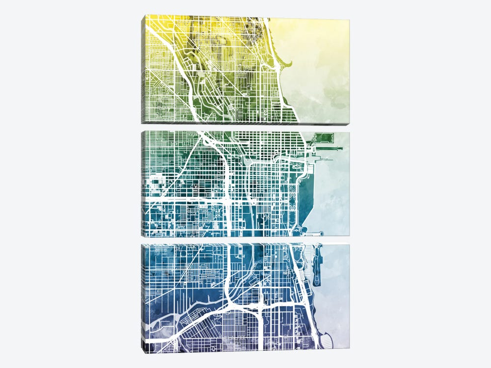 Chicago, Illinois, USA by Michael Tompsett 3-piece Canvas Wall Art