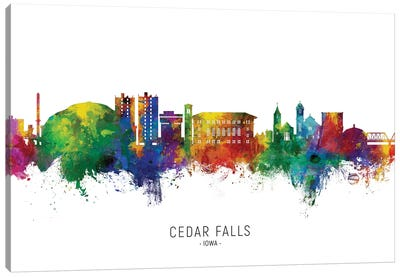 Cedar Falls Iowa Skyline City Name Canvas Art Print