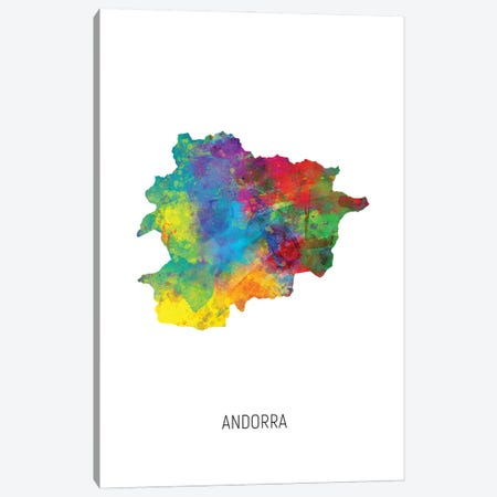 Andorra Map Canvas Print #MTO2805} by Michael Tompsett Canvas Print