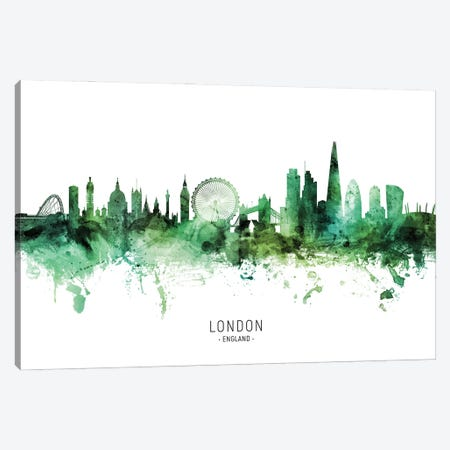 London England Skyline Green Canvas Print #MTO2809} by Michael Tompsett Canvas Wall Art