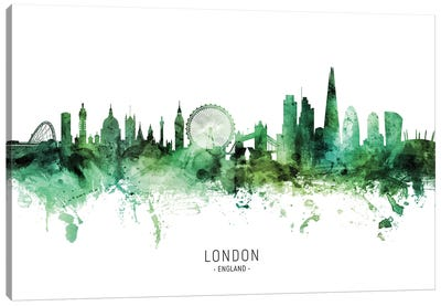 London England Skyline Green Canvas Art Print