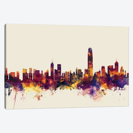 Hong Kong, People's Republic Of China On Beige Canvas Print #MTO280} by Michael Tompsett Canvas Print