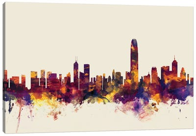 Skyline Series: Hong Kong, People's Republic Of China On Beige Canvas Art Print