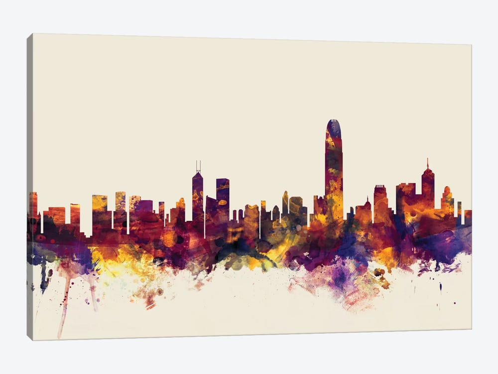 Skyline Series: Hong Kong, People's Republic Of China On Beige by Michael Tompsett 1-piece Canvas Artwork