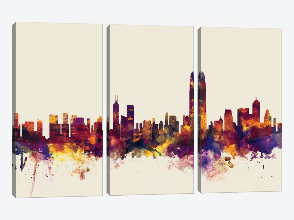 Skyline Series: Hong Kong, People's Republic Of China On Beige by Michael Tompsett 3-piece Canvas Artwork