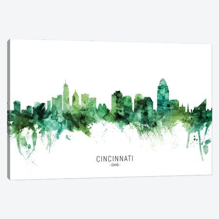 Cincinnati Ohio Skyline Green Canvas Print #MTO2810} by Michael Tompsett Canvas Print