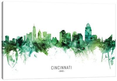 Cincinnati Ohio Skyline Green Canvas Art Print