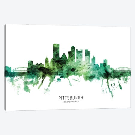Pittsburgh Pennsylvania Skyline Green Canvas Print #MTO2811} by Michael Tompsett Canvas Art Print