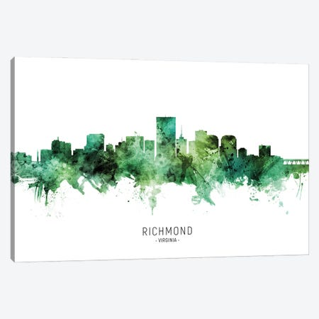 Richmond Virginia Skyline Green Canvas Print #MTO2812} by Michael Tompsett Canvas Print