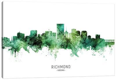 Richmond Virginia Skyline Green Canvas Art Print