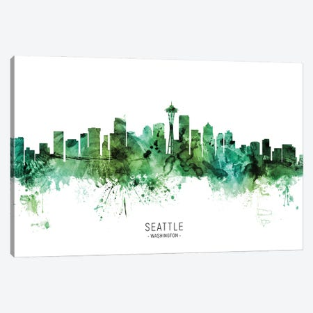 Seattle Washington Skyline Green Canvas Print #MTO2813} by Michael Tompsett Art Print
