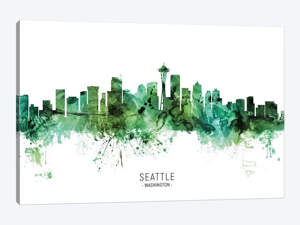 Seattle Washington Skyline Green by Michael Tompsett 1-piece Canvas Artwork