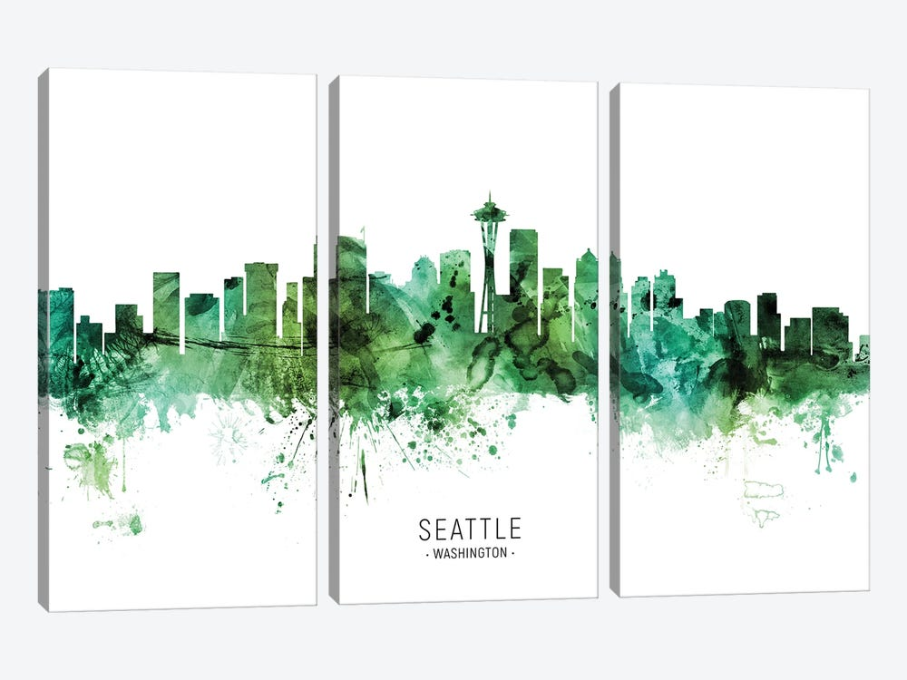 Seattle Washington Skyline Green by Michael Tompsett 3-piece Canvas Art