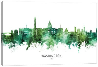 Washington DC Skyline Green Canvas Art Print