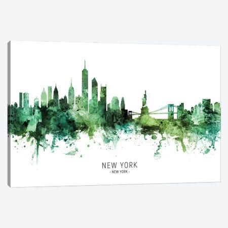 New York New York Skyline Green Canvas Print #MTO2815} by Michael Tompsett Canvas Artwork