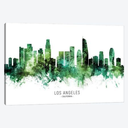 Los Angeles California Skyline Green Canvas Print #MTO2816} by Michael Tompsett Canvas Artwork