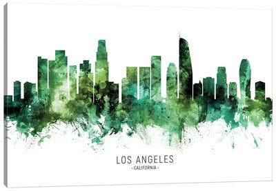 Los Angeles California Skyline Green Canvas Art Print
