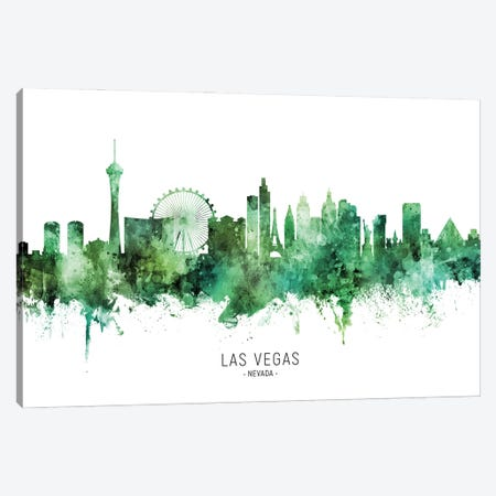 Las Vegas Nevada Skyline Green Canvas Print #MTO2817} by Michael Tompsett Canvas Artwork