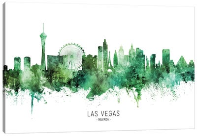 Las Vegas Nevada Skyline Green Canvas Art Print