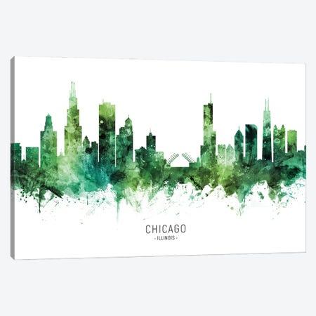 Chicago Illinois Skyline Green Canvas Print #MTO2818} by Michael Tompsett Canvas Art Print