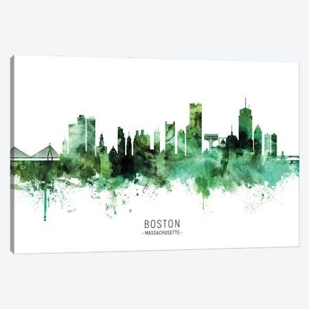 Boston Massachusetts Skyline Green Canvas Print #MTO2819} by Michael Tompsett Canvas Print