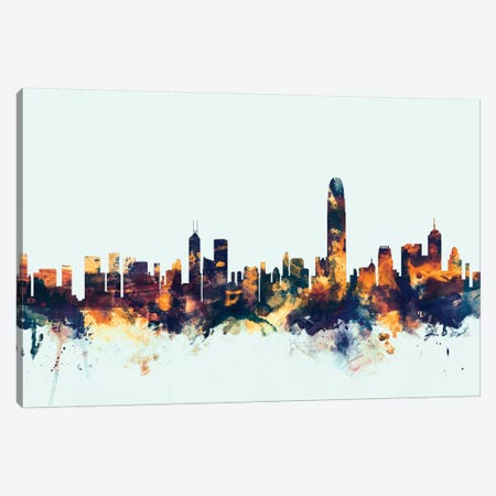 Hong Kong, People's Republic Of China On Blue Canvas Print #MTO281} by Michael Tompsett Canvas Print