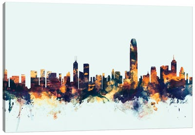 Skyline Series: Hong Kong, People's Republic Of China On Blue Canvas Art Print