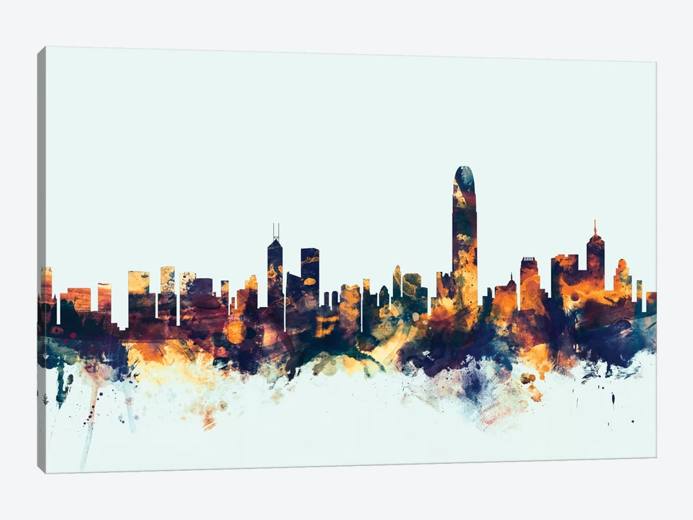Skyline Series: Hong Kong, People's Republic Of China On Blue by Michael Tompsett 1-piece Canvas Art Print