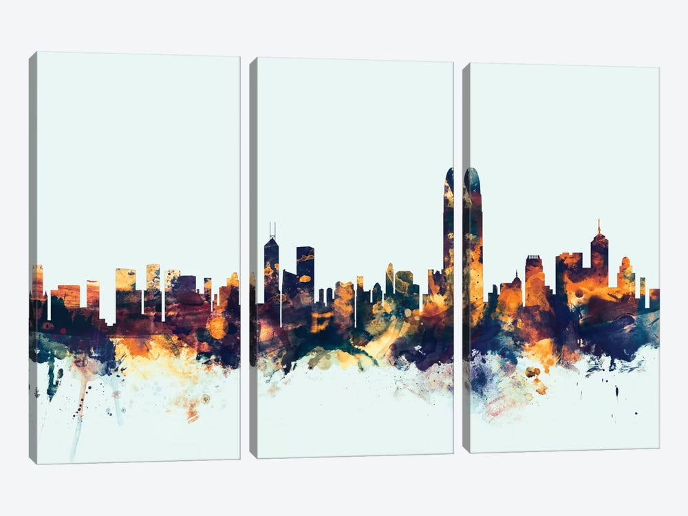 Skyline Series: Hong Kong, People's Republic Of China On Blue by Michael Tompsett 3-piece Art Print
