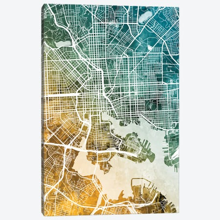 Baltimore Maryland Map 3-Piece Canvas #MTO2820} by Michael Tompsett Canvas Artwork