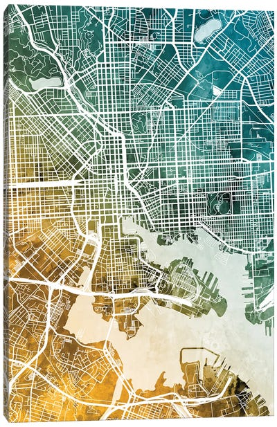 Baltimore Maryland Map Canvas Art Print