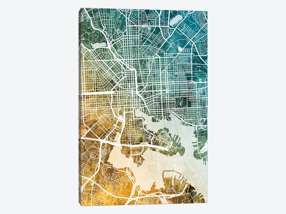 Baltimore Maryland Map by Michael Tompsett 1-piece Canvas Wall Art