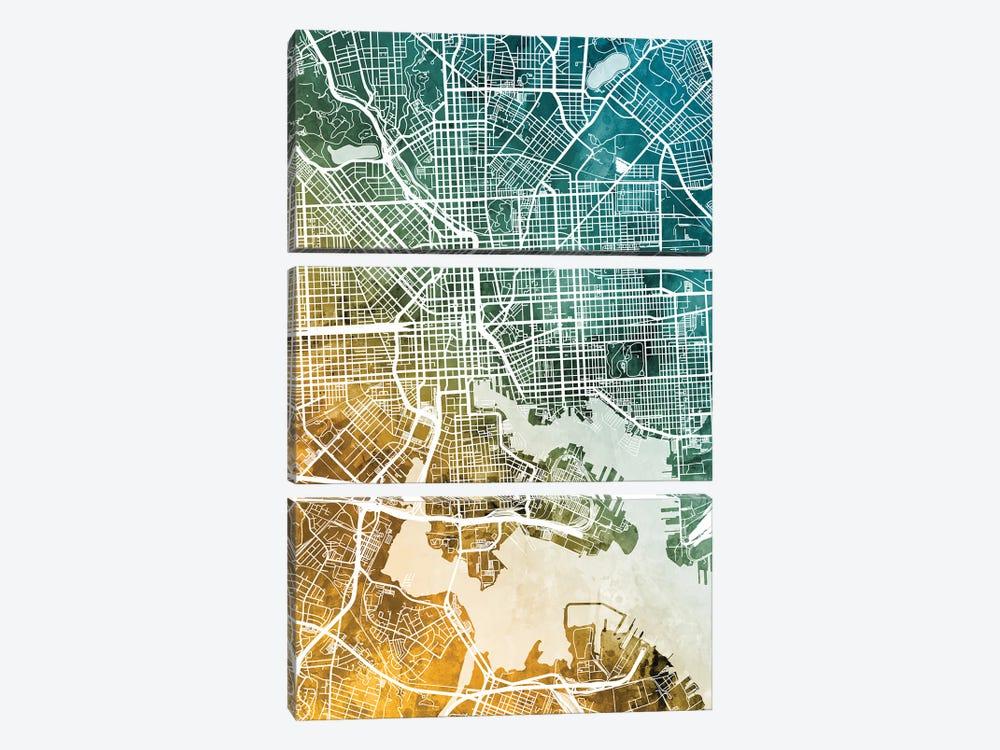 Baltimore Maryland Map by Michael Tompsett 3-piece Canvas Wall Art