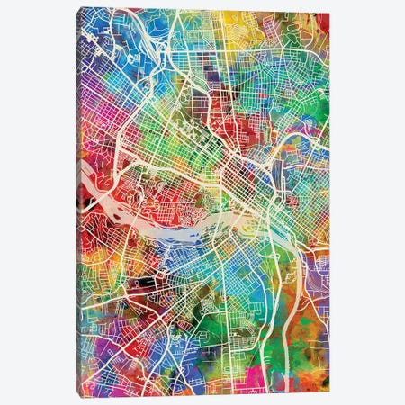 Richmond VA Map Color Canvas Print #MTO2821} by Michael Tompsett Canvas Art
