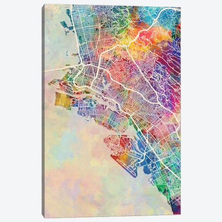 Oakland CA Map Color Canvas Print #MTO2822} by Michael Tompsett Canvas Artwork