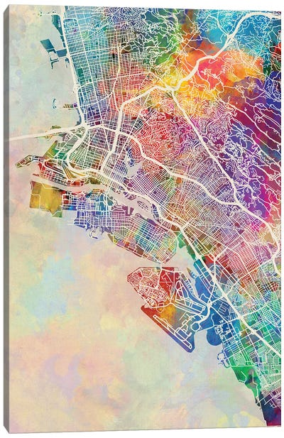 Oakland CA Map Color Canvas Art Print