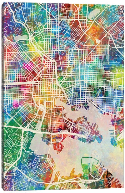 Baltimore MD Map Color Canvas Art Print