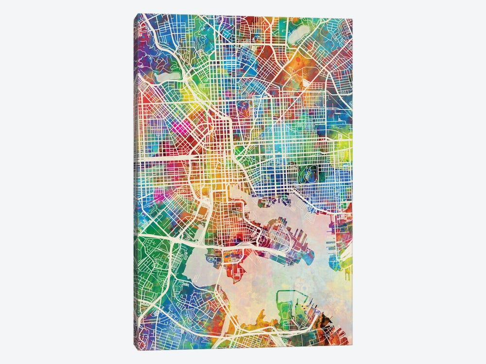 Baltimore MD Map Color by Michael Tompsett 1-piece Canvas Art Print