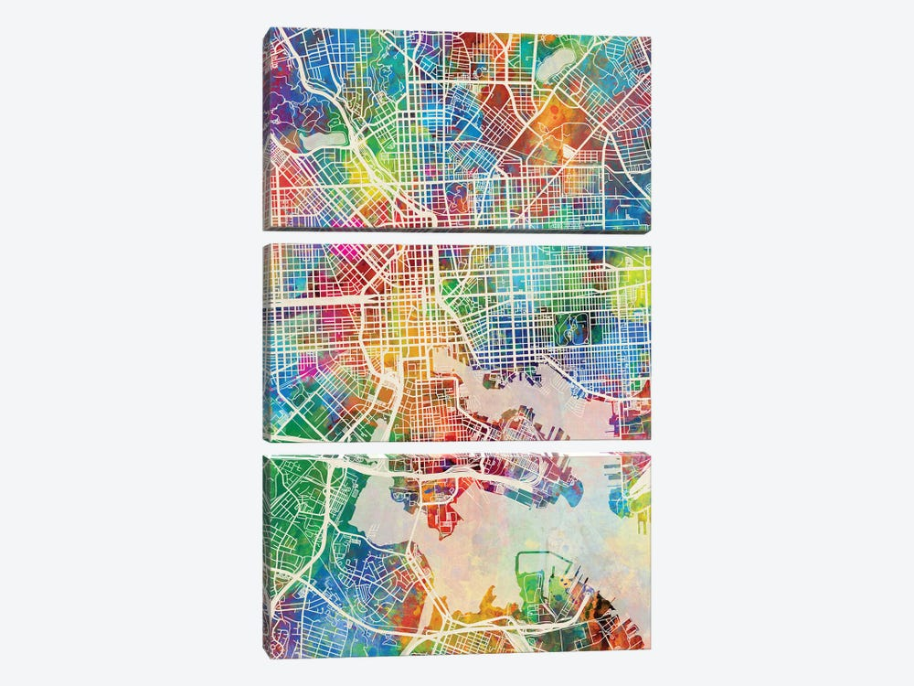 Baltimore MD Map Color by Michael Tompsett 3-piece Canvas Art Print