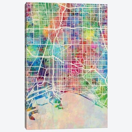 Long Beach CA Map Color Canvas Print #MTO2824} by Michael Tompsett Art Print