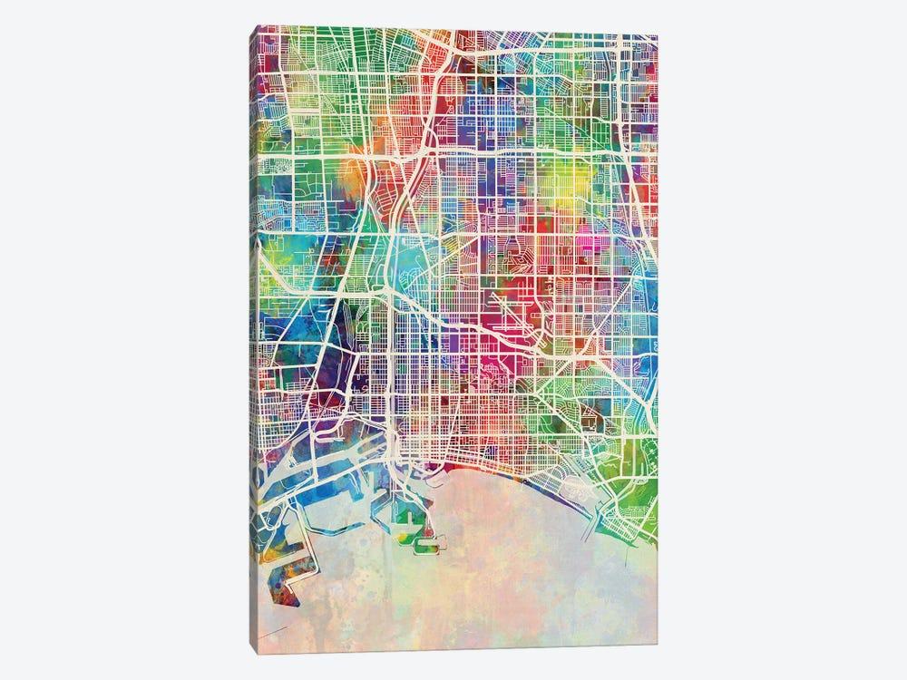 Long Beach CA Map Color by Michael Tompsett 1-piece Canvas Wall Art