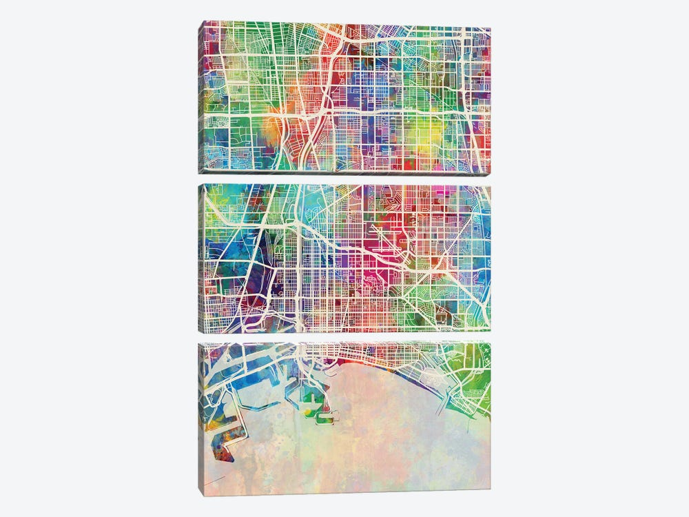 Long Beach CA Map Color by Michael Tompsett 3-piece Canvas Artwork