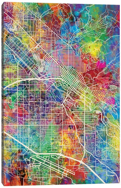 Boise Idaho Map Color Canvas Art Print